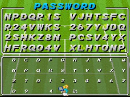 Password del Super Tennis de la SNES.