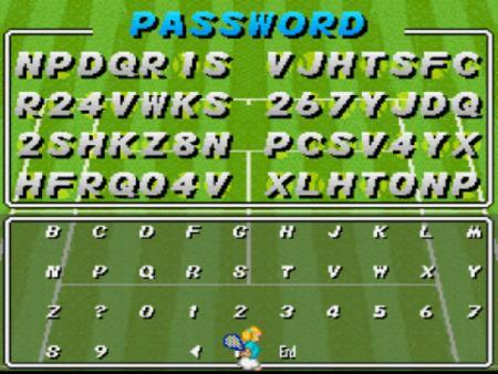 Password del Super Tennis de la SNES.