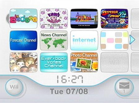 Pantalla de los canales Wii.
