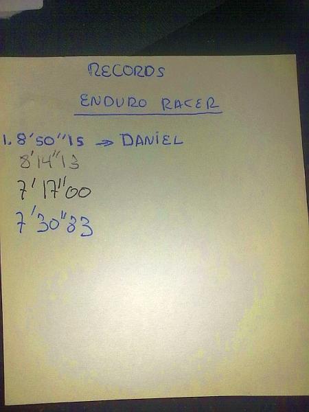 Tarjeta de memoria con los records del Enduro Racer.